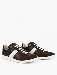Maison Martin Margiela Brown Leather And Suede Replica Sneakers Black