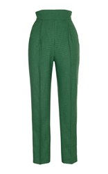 Rasario High Waisted Checkered Trousers Green