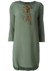 Roberto Collina Tied Neckline Loose Dress Green