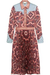 Gucci Paisley Print Plisse Silk Satin Dress Pink
