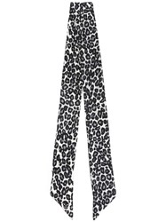 Alexander Mcqueen Skull And Leopard Print Skinny Scarf White