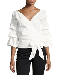 Haute Rogue Worry Less 3 4 Sleeve Blouse White