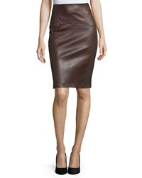 Brunello Cucinelli Leather Panel Pencil Skirt Coffee