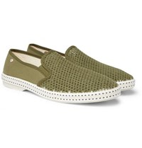 Rivieras Cotton Mesh And Canvas Espadrilles Army Green