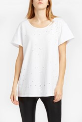 Rta Denim Women S Gigi Side Tie Detail Tee Boutique1 White