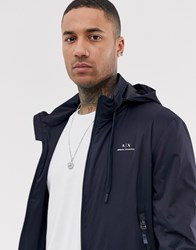 Armani Exchange Lightweight Logo Jacket With Concealed Hood In Navy