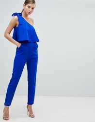 Ax Paris One Shoulder Frill Overlay Jumpsuit Blue