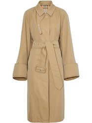 Burberry Exaggerated Cuff Car Coat Neutrals