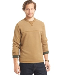 G.H. Bass And Co. Faux Suede Long Sleeve Fleece Crew Shirt Ermine Heather