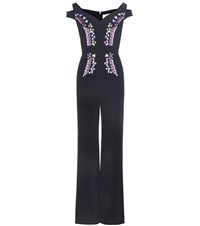 Peter Pilotto Embroidered Crepe Jumpsuit Black