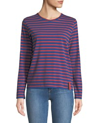 Kule Crewneck Long Sleeve Striped Cotton Top Blue Red