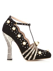 Gucci Ofelia Embellished Suede And Snakeskin Pumps Black White