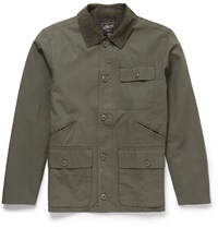 Grayers Corduroy Trimmed Cotton Field Jacket Green