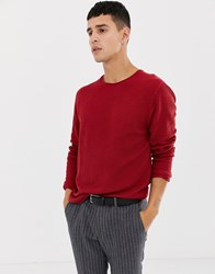 Selected Homme Crew Neck Jumper In Red Rio Red