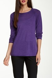 Eileen Fisher Crew Neck Merino Wool Pointelle Sweater Purple
