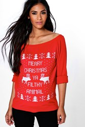 Boohoo Maternity Sophie Slash Neck Filthy Animal Christmas Jumper Red