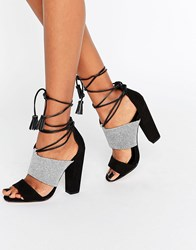 Paper Dolls Nixie Monochrome Sandals With Tassels White Black