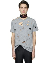 Msgm Destroyed Cotton Jersey T Shirt