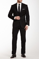 Calvin Klein Black Solid Two Button Notch Lapel Suit