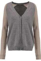 Halston Two Tone Wool And Cashmere Blend Cardigan Gray