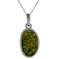 Be Jewelled Oval Amber Pendant Necklace Green