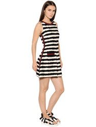 Msgm Striped Cotton Tweed Dress