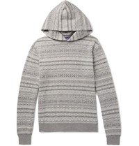Ralph Lauren Purple Label Fair Isle Cashmere Hoodie Gray