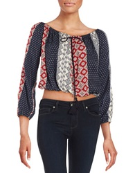 Vintage Havana Cropped Peasant Top Navy Multi