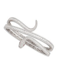 18K White Gold Diamond Snake Bangle Roberto Coin Red