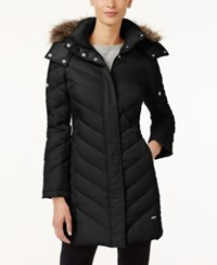 Kenneth Cole Petite Faux Fur Trim Chevron Down Puffer Coat Black