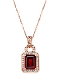 Macy's Garnet 1 3 4 Ct. T.W. And White Sapphire 1 4 Ct. T.W. Pendant Necklace In 14K Rose Gold