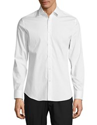 Highline Collective Band Collar Shirt With Roll Tab Sleeves White