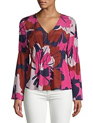 Tracy Reese Floral Ruched Blouse Bright Floral