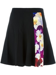 Christopher Kane Pansy Stripe A Line Skirt Black
