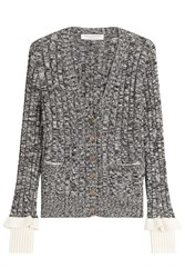 Philosophy Di Lorenzo Serafini Wool Cable Knit Cardigan With Ruffled Cuffs Grey