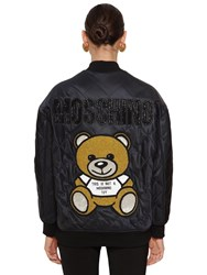 Moschino Quilted Bomber Jacket Black