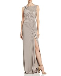 Adrianna Papell Sleeveless Lace Detail Gown Mink