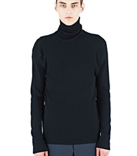 Aiezen Ribbed Polo Neck Sweater Black