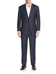 Saks Fifth Avenue Regular Fit Tonal Striped Wool Suit Black