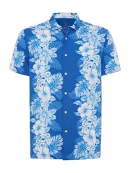 Howick Men's Aquada Hawaiian Print Short Sleeve Shirt Blue