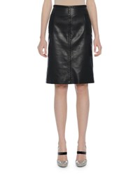 Bottega Veneta Intrecciato Trim Leather Skirt Black Nero