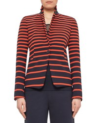 Akris Punto Graphic Striped One Button Jacket Navy Rust Navy Red Women's