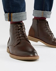 New Look Faux Leather Boots In Dark Brown Dark Brown