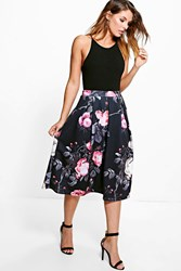 Boohoo Dark Floral Digital Print Full Midi Skirt Black