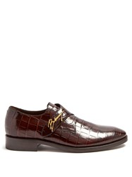 Balenciaga Crocodile Effect Leather Derby Shoes Brown