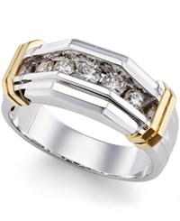 Macy's Men's Diamond 1 2 Ct. T.W. Ring In 14K White Gold And Yellow Gold
