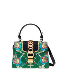 Gucci Sylvie Small Floral Top Handle Satchel Bag Green