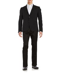 Strellson Faux Leather Trimmed Tuxedo Jacket Black