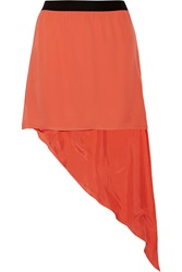 Mason By Michelle Mason Asymmetric Silk Mini Skirt Orange
