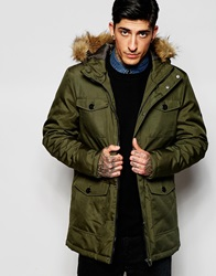 Only And Sons Parka With Faux Fur Hood Khaki